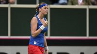 Česká tenistka Petra Kvitová se raduje během prvního utkání finále Fed Cupu s Andreou Petkovičovou.