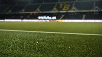 Umělý trávník na Stade de Suisse v Bernu, kde se ve čtvrtek uskuteční boj o postup do vyřazovací fáze Evropské ligy mezi místními Young Boys a Spartou.