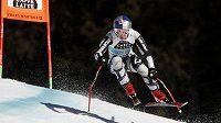 Česká lyžařka Ester Ledecká na trati sjezdu Světového poháru v Crans Montaně.