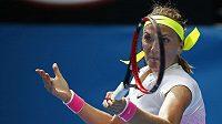 Petra Kvitová v zápase prvního kola Australian Open s Richel Hogenkampovou z Nizozemska.