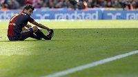 David Villa v posledním zápase Barcy proti Getafe.