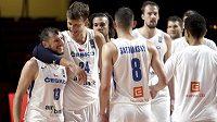 Čeští basketbalisté po výhře nad Uruguayí v olympijské kvalifikaci.