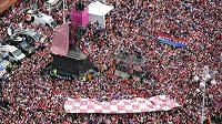 Přivítání chorvatských fotbalových vicemistrů světa v Záhřebu.