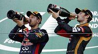 Sebastian Vettel a Mark Webber pijí šampaňské po vítězství v Suzuce. Oslavu Vettlova celkového titulu ale museli odložit.
