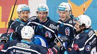 Hokejisté Plzně (zleva): Jan Kovář, Jaroslav Kracík, Jakub Pour a Roman Vráblík oslavují gól na 2:1 proti Spartě.