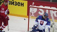 Brankář Slovenska Július Hudáčeka a ruský hokejista Anton Slepyšev.