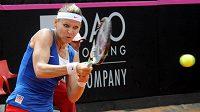 Tenistka Lucie Šafářová v utkání proti Robertě Vinciové z Itálie.