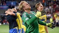 Švédský brankář Patrik Carlgren, hrdina penaltového rozstřelu ve finále ME hráčů do 21 let.