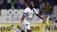 Liberecký útočník Dzon Delarge oslavuje gól na 2:0 vutkání 2. předkola Evropské ligy s Košicemi.