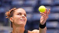 Řecká tenistka Maria Sakkariová v zápase 3. kola US Open proti české hráčce Petře Kvitové.