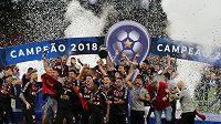 Fotbalisté Paranaense se radují z triumfu v Jihoamerického poháru.