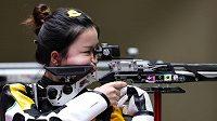 Číňanka Jang Čchien, držitelka prvního zlata z Tokia za střelbu ze vzduchové pušky.