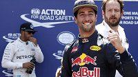 Daniel Ricciardo jásá poté, co si pro GP Monaka zajistil v kvalifikaci pole position.