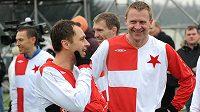 Internacionálové Slavie Praha Ivo Ulich (vlevo) a Stanislav Vlček během tradičního Silvestrovského derby. Zatímco první se Ligy mistrů nedočkal, druhý byl u zatím jediné účasti Slavie.