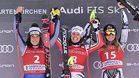 Stupně vítězů v Ga-Pa, zleva Federica Brignoneová z Itálie, Němka Viktoria Rebensburgová a Ester Ledecká.