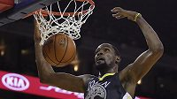 Hvězda Golden State Warriors Kevin Durant (35) v akci.