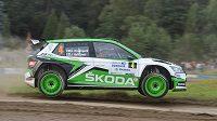 Kalle Rovanperä a Jonne Halttunen z Finska při Rallye Bohemia na autodromu Sosnová.