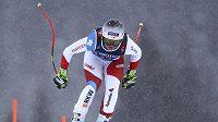 Švýcarka Corinne Suterová při závodě ve sjezdu na MS alpských lyžařů v Aare.