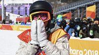 Američan Redmond Gerard bezprostředně po triumfu v olympijském závodě ve slopestylu.