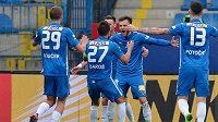 Milan Baroš (uprostřed) se raduje z vedoucího gólu Liberce proti Příbrami.