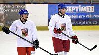 Útočníci Jiří Hudler (vlevo) a Jaromír Jágr během tréninku hokejové reprezentace v Letňanech.
