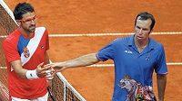Jablko sváru. Radek Štěpánek a Janko Tipsarevič po zápase v Davis Cupu u sítě.