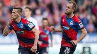 Plzeňský záložník Patrik Hrošovský se raduje z gólu po penaltě proti baníku Ostrava.