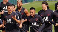 Trénink fotbalistů PSG - Neymar, Edinson Cavani a Thiago Silva v akci.
