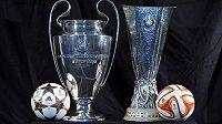 Trofej pro vítěze Ligy mistrů (vlevo) a pro šampiony Evropské ligy. O oba poháry budou ve finále usilovat výhradně anglické týmy.