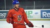 Obránce Michal Jordán během tréninku české hokejové reprezentace v Praze.