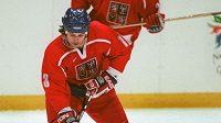Bývalý český hokejista Robert Lang ve čtvrtfinálovém duelu olympijských her v Nagenu proti USA.