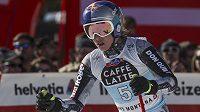 Česká lyžařka Ester Ledecká v cíli sjezdu Světového poháru v Crans Montaně.