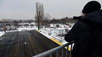 Novináři si prohlédli v Praze přípravy Olympijského parku na Letné, kde vznikají jednotlivá sportoviště a ledová plocha.