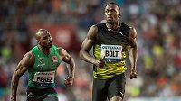 Jamajský sprinter Usain Bolt jako první v cíli sprintu na 100 m na atletickém mítinku Zlatá tretra.