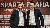 Nová trenérská dvojice Sparty Tomáš Požár (vlevo) a David Holoubek.