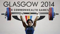 Vzpěračské soutěže Her Commonwealthu jsou poznamenány dopingovým skandálem. Na snímku Ndidi Winifredová, nigerijská vítězka v kategorii do 58 kg. Její krajanka Chika Amalahaová (do 53) neprošla dopingovým testem.