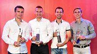 Fotbalisté Sparty Praha (zleva): David Lafata (nejlepší útočník), Pavel Kadeřábek (nejlepší obránce), Josef Hušbauer (nejlepší záložník) a Bořek Dočkal (neužitečnější hráč) během v rámci vyhlášení novinářské ankety Zlatý míč 2014.