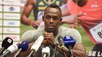 Jamajský sprinter Usain Bolt v Ostravě na tiskové konferenci před Zlatou tretrou.