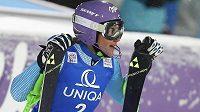 Šárka Strachová v cíli slalomu ve Flachau.