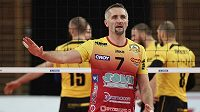 Lubomír Staněk z Liberce ve finále ligy volejbalistů proti Brnu.
