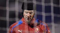 Brankář Petr Čech na tréninku fotbalové reprezentace.