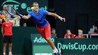 Lukáš Rosol během rozhodující dvouhry baráže Davis Cupu v Nizozemsku.
