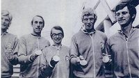 Čtyřka s kormidelníkem na OH v Mnichově, Otakar Mareček nejvíce vpravo.