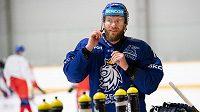 Jiří Novotný během tréninku hokejové reprezentace před turnajem Channel One Cup