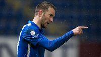Útočník Slovanu Liberec Marek Bakoš se raduje z gólu proti Jablonci.