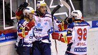 Hokejisté Pardubic se radují z gólu (ilustrační foto).