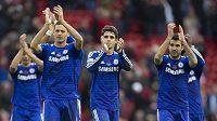 Spokojení fotbalisté Chelsea po vítězství nad Liverpoolem.