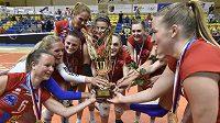 Volejbalistky Prostějova slaví titul.