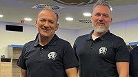 Novými trenéry Plzeň se stali (zleva) Václav Baďouček a Miloš Říha mladší. Jejich asistentem bude sportovní manažer klubu Tomáše Vlasák, brankáře bude mít dál na starosti Rudolf Pejchar.