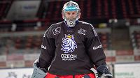 Brankář Dominik Frodl na tréninku české hokejové reprezentace.